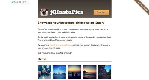 Plugin JQuery para Instagram: JQInstaPics