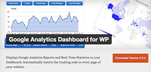 Plugin WordPress para verificar estadísticas de sitio: Google Analytics Dashboard for WP