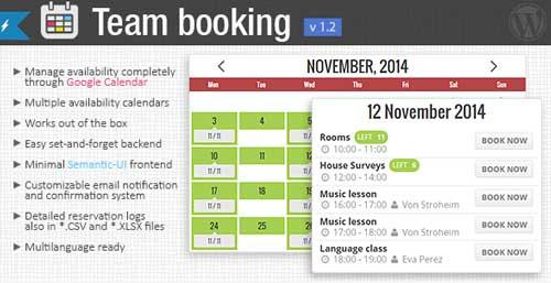Plugin WordPress para reservaciones: Team Booking