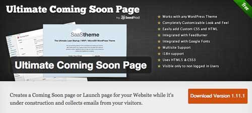 Plugin WordPress para crear anuncios de páginas próximas a lanzarse: Ultimate Coming Soon Page