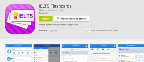 Programa para Android para prepararte para el IELTS y TOEFL: IELTS Flashcards