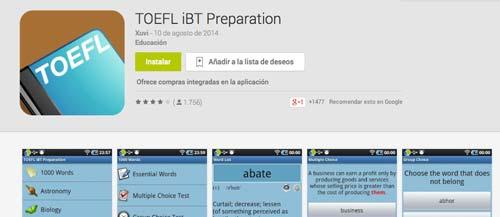Programas para Android para prepararte para el IELTS y TOEFL: TOEFL iBT Preparation