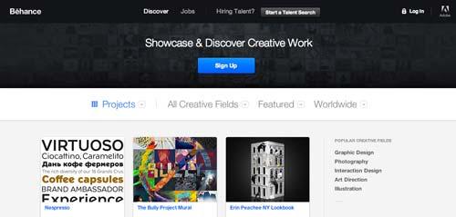 Sitios web donde crear portfolio online: Behance