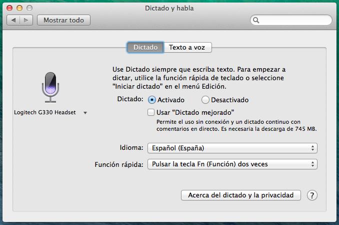 Panel Dictado - Mac OSX