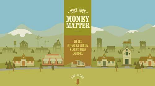 Ejemplos de paginas web que hacen uso de los colores pastel: Make your money matter
