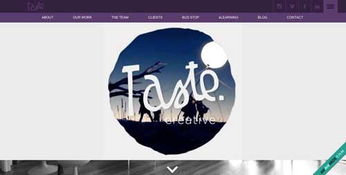 Ejemplos de paginas web que hacen uso de videos como fondo: Taste Creative