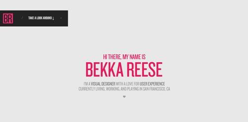 Ejemplos de portfolio online de diseño minimalista: Bekka Reese