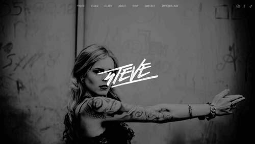 Ejemplos de portfolio online de diseño minimalista: Steve