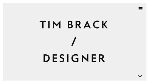 Ejemplos de portfolio online de diseño minimalista: Tim Brack