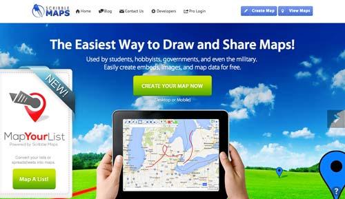 Herramientas para crear mapas online: Scribble Maps