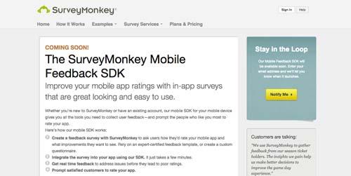 Herramientas para recolectar comentarios sobre tus aplicaciones móviles: Survey Monkey