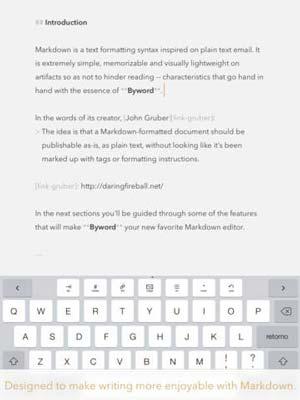 iOS app para usuarios de WordPress: ByWord