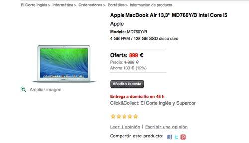 """Las mejores ofertas de Black Friday en El Corte Ingles: Macbook Air 13,3"""""""