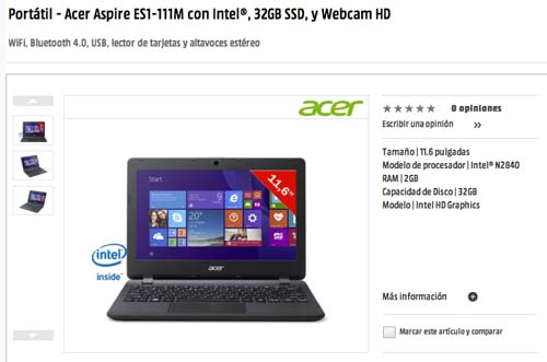 Las mejores ofertas de Black Friday en Media Markt: Portatil Acer Aspire Es1-111M