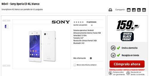Las mejores ofertas de Black Friday en Media Markt: Sony Xperia E3