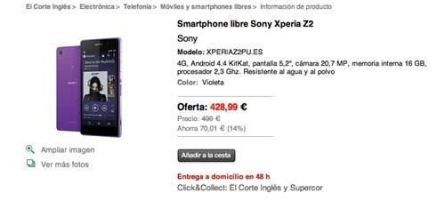Las mejores ofertas de Black Friday en El Corte Ingles: Sony Xperia Z2