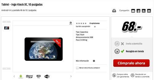 Las mejores ofertas de Black Friday en Media Markt: Tableta Ingo Kteck DC