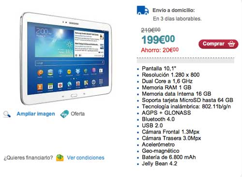 Las mejores ofertas de Black Friday en Carrefour: Tablet Samsung Galaxy Tab3