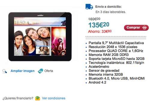 Las mejores ofertas de Black Friday en Carrefour: Tablet Wolder Advance