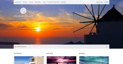 Los mejores temas WordPress de este año para hoteles: Aegean Resort