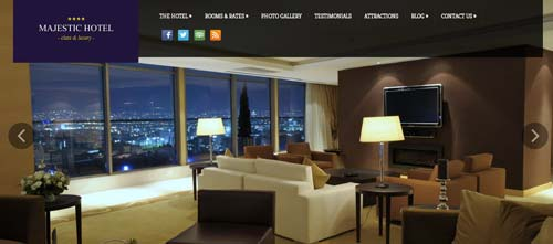 Los mejores temas WordPress de este año para hoteles: Majestic