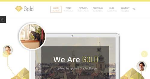 Plantillas HTML con efecto Low Poly: Gold