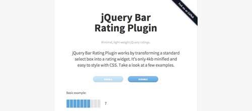 Plugin JQuery para añadir sistema de puntuación: JQuery Bar Rating Plugin