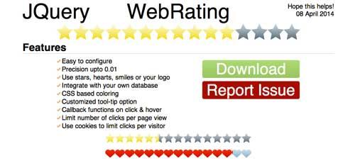 Plugin JQuery para añadir sistema de puntuación: JQuery WebRating
