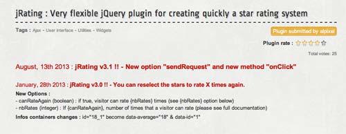 Plugin JQuery para añadir sistema de puntuación: JRating