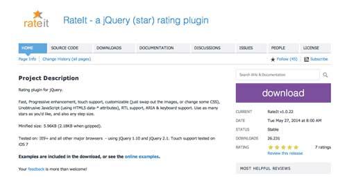 Plugin JQuery para añadir sistema de puntuación: Rateit