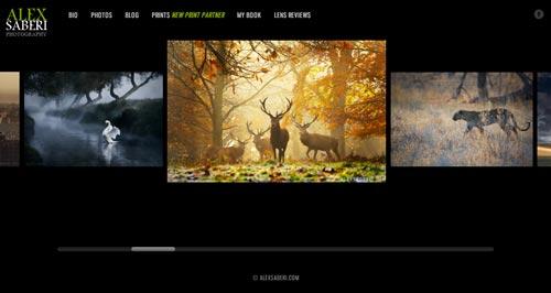 Ejemplos de portfolio online de fotógrafos: Alex Saberi