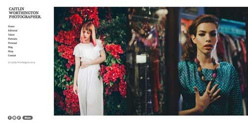 Ejemplos de portfolio online de fotógrafos: Caitlin Worthington
