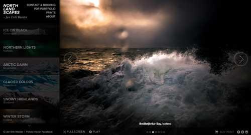 Ejemplos de portfolio online de fotógrafos: Northlandscapes