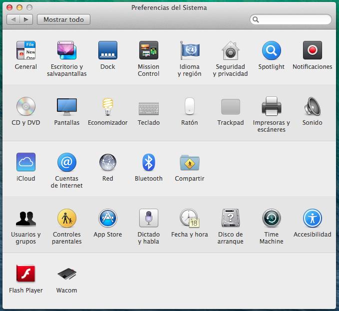 Preferencias del Sistema - Mac OSX