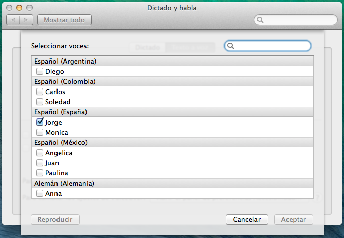 Seleccionar voces - Texto a voz - Mac OSX