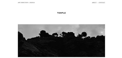 Sitios web con un excelente diseño minimalista: Temple