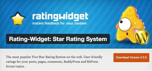 Widget WordPress populares para blog: Rating Widget