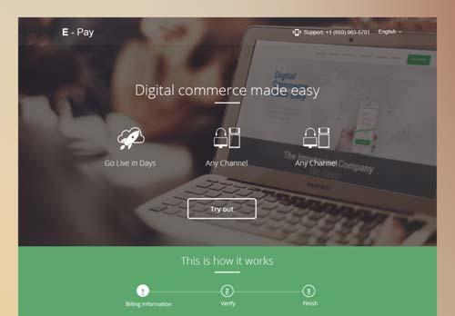 Conceptos de página con estilo flat web design: E-Payment