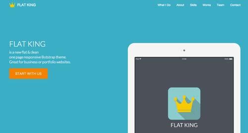 Conceptos de página con estilo flat web design: Flat King