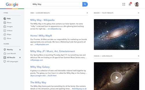 Conceptos de página con estilo flat web design: Google Redesign