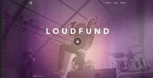 Conceptos de página con estilo flat web design: Loudfund