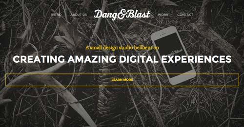 Ejemplos de paginas web con uso de colores oscuros: Dang & Blast