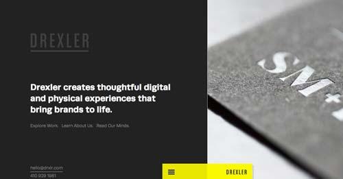 Ejemplos de paginas web con uso de colores oscuros: Drexler