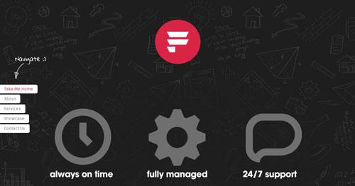Ejemplos de paginas web con uso de colores oscuros: Fiasam Web Solutions