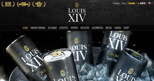Ejemplos de paginas web con uso de colores oscuros: Louis XIV