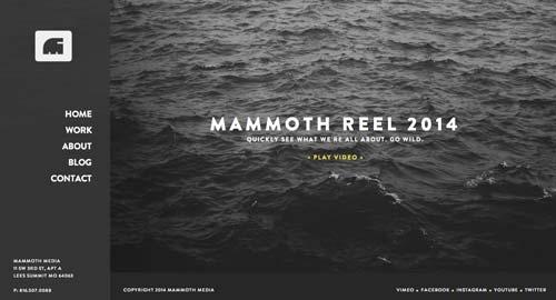 Ejemplos de paginas web con uso de colores oscuros: Mammoth Media