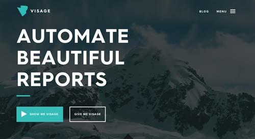 Ejemplos de paginas web con uso de colores oscuros: Visage