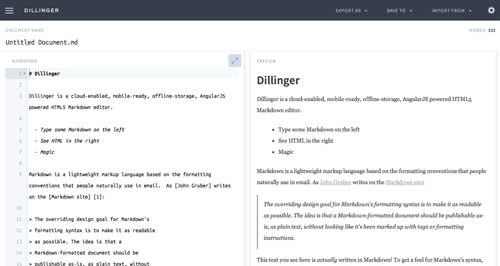 Lista de Markdown Editor: Dillinger