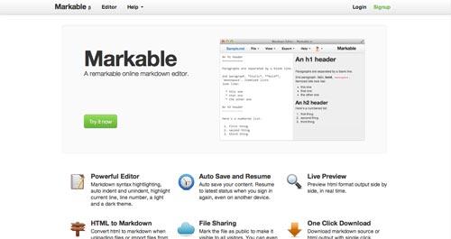 Lista de Markdown Editor: Markable