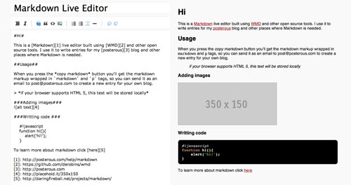 Lista de Markdown Editor: Markdown Live Editor